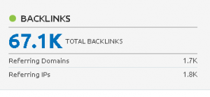 Resultados de cantidad backlinks en Semrush para elpais.com