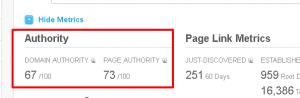 Pantallazo de los resultados en el Open Site Explorer de Moz